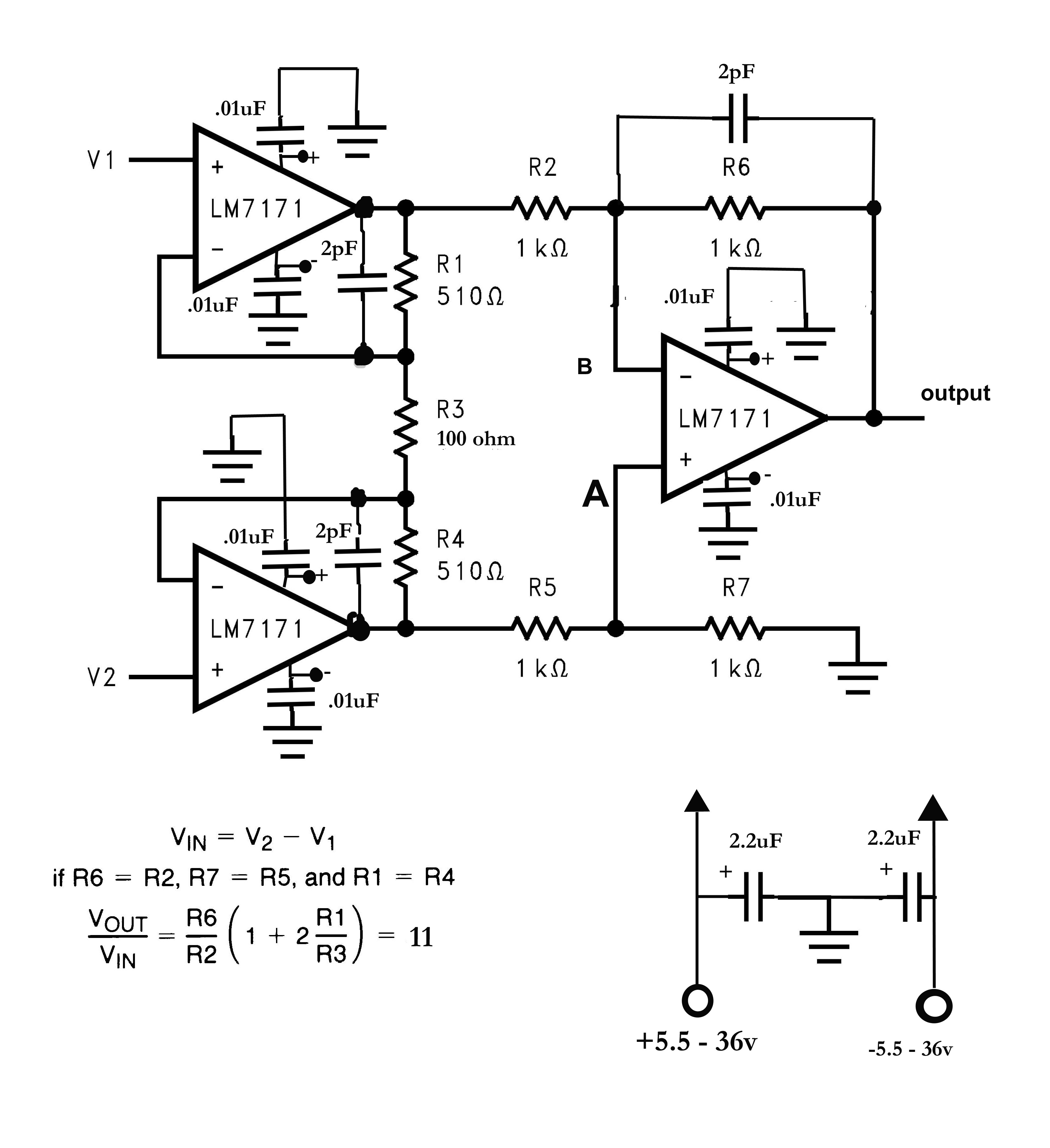 instrumentation amplifier not amplifying